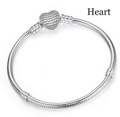 Silver Snake Chain Bracelet with Zirconia HEART CLASP Charm Snake HOT