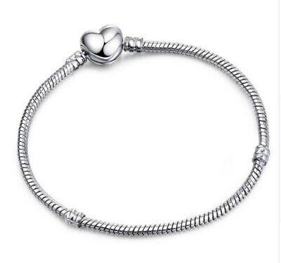 Silver Snake Chain Bracelet with SILVER HEART CLASP Charm Snake