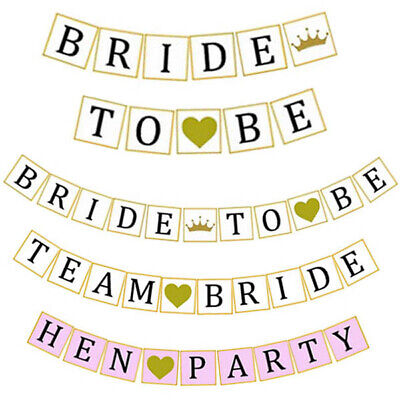 3 Designs - Team Bride To Be Hen Party Banner Bunting Garland Decoration Wedding