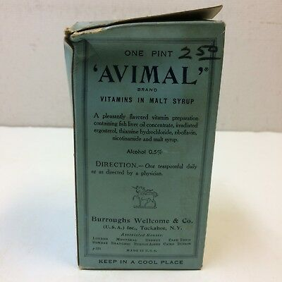 Antique 1900's Burroughs Wellcome & Co AVIMAL Vitamins Pint • SEALED‼ NOS‼