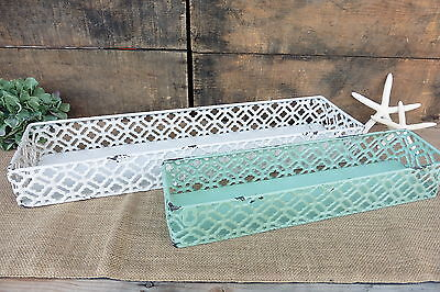 Metal Lattice Basket Tray Shelf  Distressed Mint or White Rustic French Country