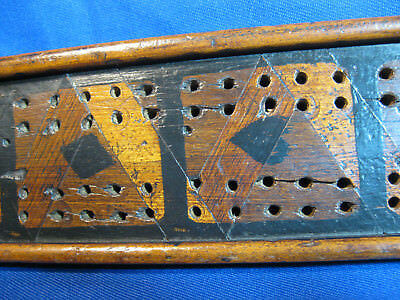 Early Victorian Antique Treen Inlaid Wood Walnut- Mahogany Cribbage Board Game