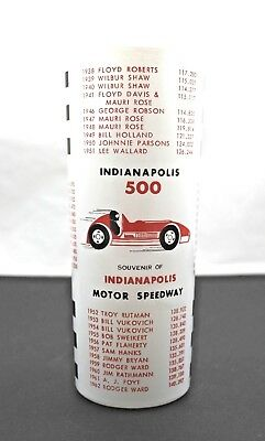 """Indianapolis Indy 500 Vintage 60's Anchor Hocking Speedway Souvenir Glass 6.5"""""""