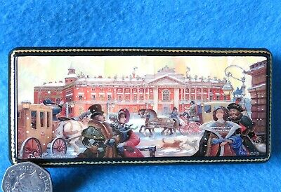 Old St. Petersburg FEDOSKINO Box Russian Lacquer Shell Giclee style trinket GIFT