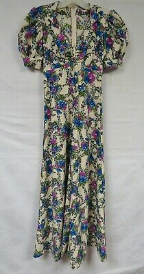 Vintage 60s 70s does 40s Dress Maxi Floral Puff Sleeves Purple Blue Rose Retro