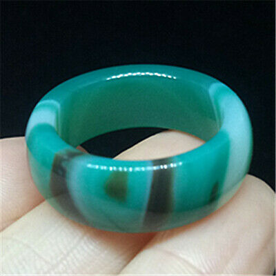 US 9½#/19.5MM Natural jade ring statue  Amulet agate  ring