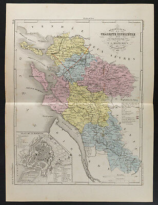 1853 - Old Map of the Department of the Charente Maritime (Lower), per B