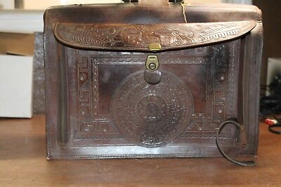 VTG Leather Brief Case Brown Document Bag Mexico Eagle / Sun Stone Aztec Azteca
