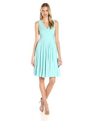 NWT Adrianna Papell Womens Banded-Bodice Pleated Jersey Dress Menthol Sz: 6 $200