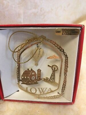 Vintage Nation's Treasures State Brass Iowa State Ornament  (A13)
