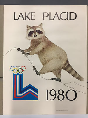 Lake Placid XIII Ronni Raccoon 1980 Olympic Winter Amy Schneider Vintage Poster