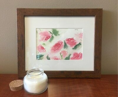 Roses Painting, Framed, 8 by 10 inches, Beautiful, Abstract, Original, Signed