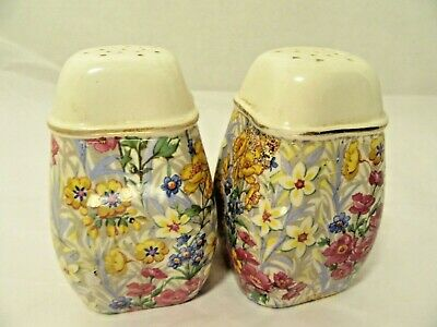 Vintage Chintz German signed Salt & Pepper Shakers