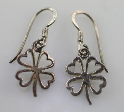Jewelry & Watches Fine Sterling Silver 925 Vintage Four Leaf Clover Frosted Glass Dangle Earrings Fine Jewelry