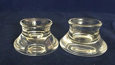 """Lovley Pair Signed Steuben Crystal Art Glass Short Candle Holders 1 1/4""""x2 1/4"""""""