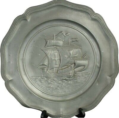 Plate Sailing Boat Pewter Vintage 1950 French Decorative