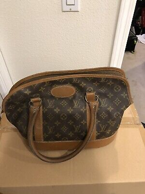 bd583b198ebb Vtg 1970s Louis Vuitton French Company Le Sac Chien Small Dog Carrier Tote  Bag