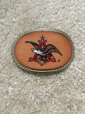 Vintage Eagle Budweiser Belt Buckle Brass & Leather
