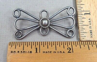 NAVAJO Antique Silver BUTTON, Early 1900s Wire-Work, Bow-Tie Shape, LARGE