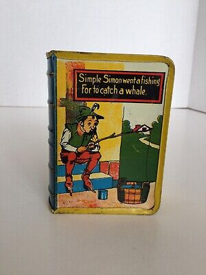 Vintage Kirchhof Tin Litho Book Shaped Bank Nursery Rhyme Simple Simon Vol. II