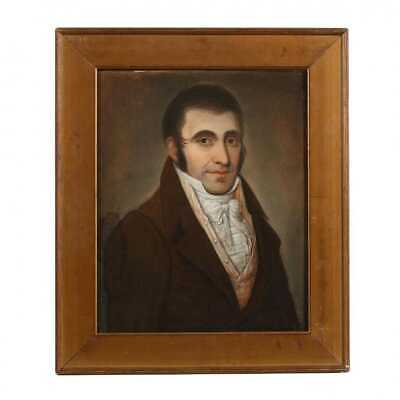 Ca.1820 Antique 19thC French EMPIRE GENTLEMAN Old PASTEL Man PORTRAIT PAINTING