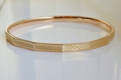 Stunning Antique Art Deco 9ct Gold Engraved Slave Bangle c1925 - 22.0 grams