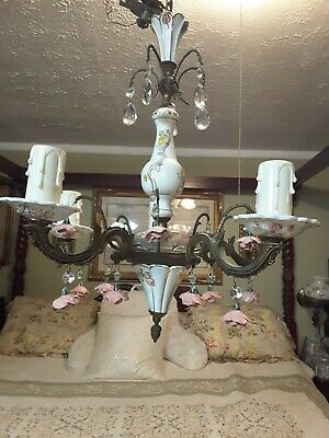 Capodimonte porcelain Chandelier Gilded 5 Arm/Light floral rose crystal