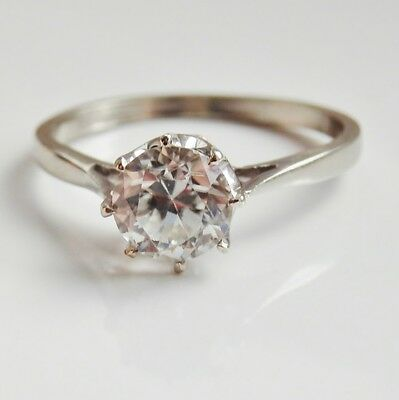 Stunning Vintage Art Deco 9ct Gold Natural White Zircon Solitaire Ring c1935