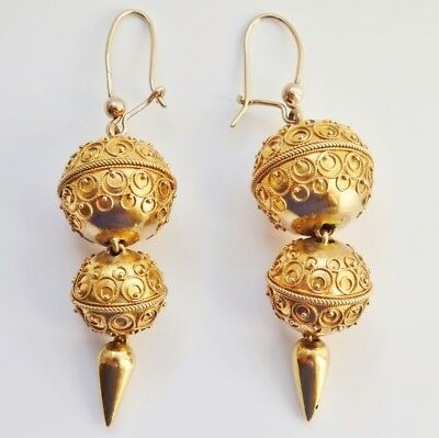 Antique Victorian 15ct Gold Etruscan Revival Filigree Decorated Earrings c1885