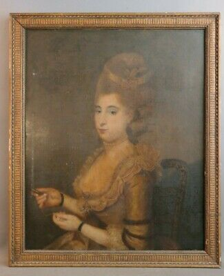Ca.1780 Antique 18thC French LADY SEWING PORTRAIT Old WHITE POWDER Hair PAINTING