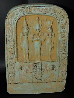 RARE ANCIENT EGYPTIAN ANTIQUE Statue Of Osiris, Nephthys And Isis STONE 1375 BC