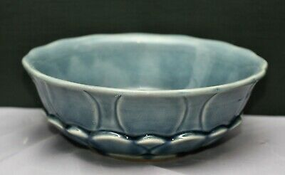 Beautiful Vintage  Large Blue Celadon Drip Glaze Display Bowl Made In Thailand