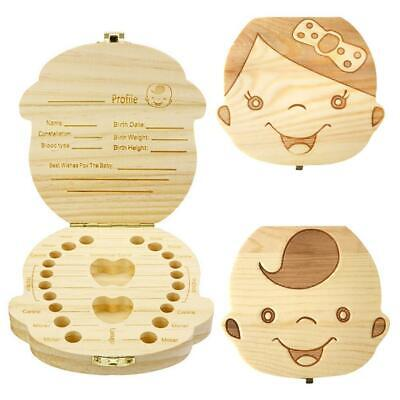 Wooden Kids Baby Boy Girls Tooth Box Organizer Teeth Wood Storage Box