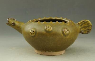 Chinese old hand-carved fambe porcelain celadon glaze Fish mouth teapot / 11