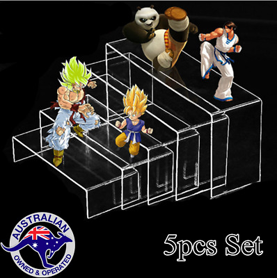 5pcs Set Clear Acrylic Display Risers Showcase for Shoe Risers Retail Stand AU