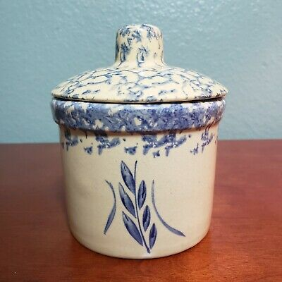 Roseville RRPC Wheat Spray 1PT Crock w Lid Tan Blue Spongeware USA