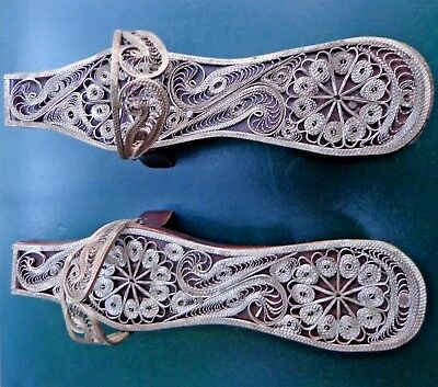 Old Ottoman Silver And Wood Turkey Filigree Woman Shoes
