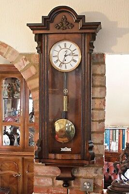 Antique German Single Weight Walnut Case 8-Day Vienna Wall Clock, 19th Century