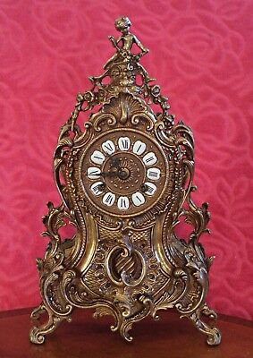 Vintage Bronze/Brass German 'FHS' Rococo Style 8-Day Striking Mantel Clock