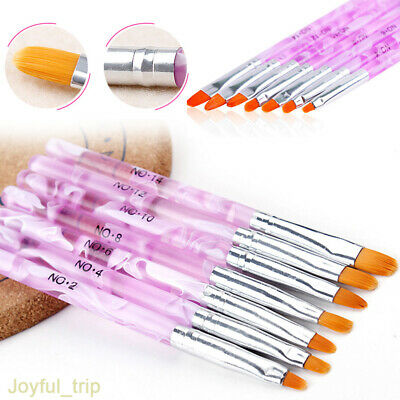 7x Nail Art UV Gel Painting Drawing Brushes Acrylic Flat Brush Set Professional