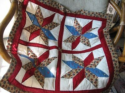 """Handmade Patchwork Star Quilt Table Topper/Runner, Wall, Lap, Decor 26""""Square"""