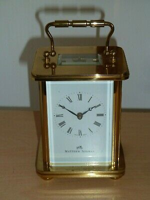 "Matthew Norman brass carriage clock 4"" high - good condition and working order"