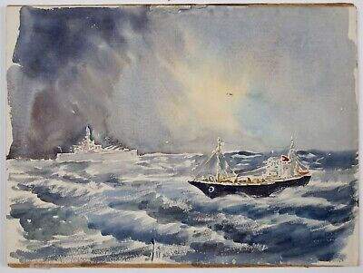 Ernest Andrews (1896-1977) Seascape with ships and signed landscape verso.