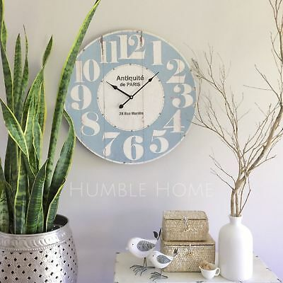 Large 60cm Vintage Rustic Light BLUE Wall Clock/French Provincial/Hampton's