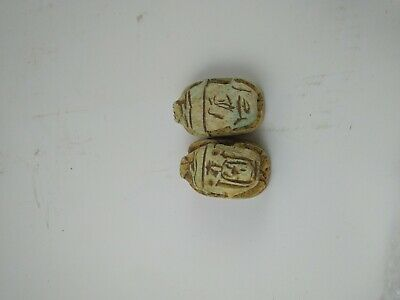 2 RARE ANCIENT EGYPTIAN ANTIQUE SCARAB Carved White Carved Stone 1450-1326 BC