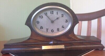 Antique Dark Wood Mantel Clock Napoleon Hat 1920s/1930s Woolwich Fire Brigade