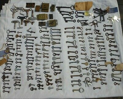 Giant collection of antique cabinet box lock and clock keys and locks 236 +/-