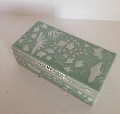 "RARE Superb 7""+ Qing Antique Chinese Celadon ~SLIP Porcelain~ White Flowers Box"
