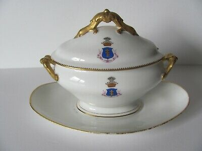 Antique French Armorial Tureen Champs-Elysees, Raised Enamel Silver