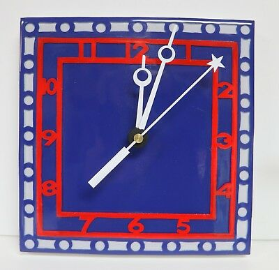 Handmade Wooden Wall Clock Red White Blue Hand Painted Shiny New